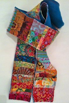 Items similar to Cozy Patchwork Scarf on Etsy Sewing Scarves, Sewing Clothes, Diy Clothes, Sewing Hacks, Sewing Crafts, Sewing Projects, Patchwork Quilting, Quilts, Fabric Art