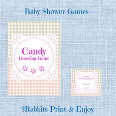 Printable Candy Guessing Baby Shower Game. Each guest needs to guess how many candies are in the baby bottle. The guest who guessed the closest number wins the baby bottle with the candies!  #candyguessinggame #babyshowergames #2rabbitsprintenjoy #etsyshop