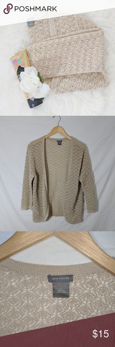 "Ann Taylor Knit Cardigan Ann Taylor Knit Cardigan Condition: Excellent, no holes or stains. All items come from a smoke free and pet free home.  Pit to Pit: 18""  Sleeve: 20""  Pit to Bottom: 17""  Size: Large  I want to get rid of these items so please feel free to send me an offer. I will always counter or accept any and all offers, including lowball offers. Also comment if you would like me to add you to my taglist stay updated with new arrivals! Happy Poshing.  Inventory Number: BB191-0318…"