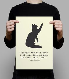 CAT QUOTE Poster Cat Poster Cat Wall Art Yellow by PurrfectPrintz