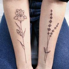 Minimalistic lavender and iris forearm tattoo by Irene Bogachuk | feminine tattooing (@irenebogachuk)