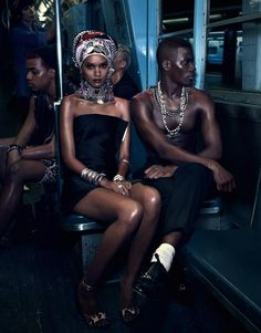 Liya Kebede & David Agbodji by Mikael Jansson for Vogue Japan