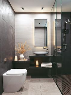 Dreaming of an extra or designer bathroom? We have gathered together lots of gorgeous master bathroom tips for small or large budgets, including baths, showers, sinks and basins, plus master bathroom decor some ideas. Modern Bathrooms Interior, Big Bathrooms, Bathroom Design Luxury, Simple Bathroom, Modern Bathroom Design, Home Interior, Bathroom Ideas, Mirror Bathroom, Bathroom Designs