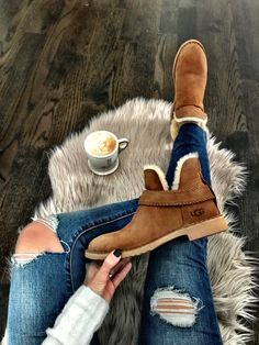 IG: @mrscasual | UGG booties #Womendresses #anklebootsoutfit