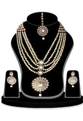 White and Golden Color Stone Studded Necklace Set