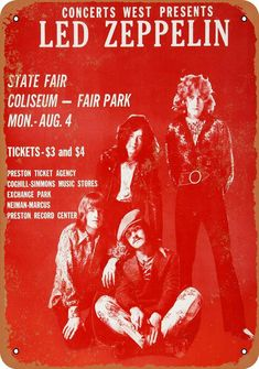 Jimmy Page/ Robert Plant Led Zeppelin State Fair Coliseum Concert Poster 1969 Led Zeppelin Poster, Led Zeppelin Concert, Led Zeppelin I, Rock N Roll, Rock And Roll Bands, Robert Plant Led Zeppelin, Tour Posters, Band Posters, Music Posters