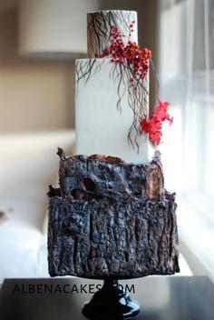 Winter Wedding Cake by Albena - http://cakesdecor.com/cakes/263593-winter-wedding-cake