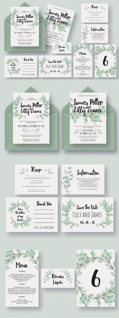 Eucalyptus Wedding Invitation Suite * Find out more details, click the image Wedding Invitation Maker, Create Wedding Invitations, Wedding Invitation Templates, Wedding Stationary, Wedding Cards, Diy Wedding, Wedding Fonts, Wedding Suite, Green Wedding