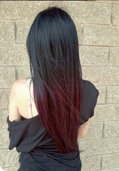 Top of the line black and red ombré hairstyles for inspiration. The best, most creative ombré hair color ideas with or without hair extensions. Ombre Blond, Red Ombre Hair, Ombre Hair Color, Ombre Burgundy, Dark Ombre, Black And Burgundy Hair, Violet Ombre, Violet Hair, Red Hair Tips On Black Hair