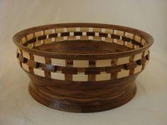 Handmade Open/Solid Segmented Fruit bowl / Centerpiece- Walnut, Hard Maple Pc. #213