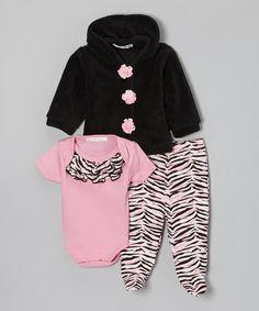 Look what I found on #zulily! Pink & Black Zebra Footie Pants Set - Infant #zulilyfinds