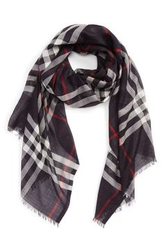 Burberry Giant Check Print Wool & Silk Scarf Navy at Nordstrom