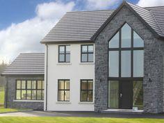 Stone Exterior Houses, Dream House Exterior, Exterior Windows, Stone Houses, House Plans Uk, House Plans Mansion, Home Building Design, Building A House, Contemporary Farmhouse Exterior