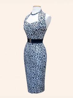 Halterneck Pencil White Leopard Dress £99.00