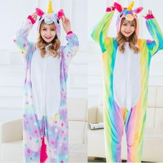 Winter Unisex Animal Unicorn Pajamas Woman Adult Halloween Cosplay Costumes  Onesie Flannel unicornio Pijama For Women Pyjamas 187a514b2