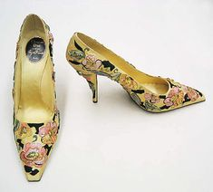 Christian Dior Pumps House of Dior By Designer Roger Vivier in 1955 made with silk, leather, metallic thread and plastic.