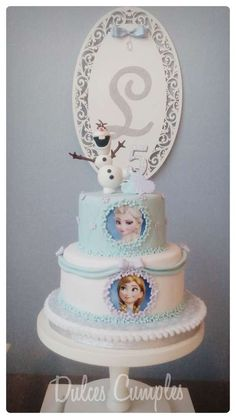 Gorgeous cake at a Frozen birthday party! See more party planning ideas at CatchMyParty.com!