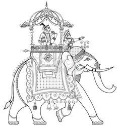 Vector illustration of a decorated Indian elephant Poster. Elephant Sketch, Elephant Poster, Elephant Illustration, Elephant Design, Indian Traditional Paintings, Indian Art Paintings, Kalamkari Painting, Madhubani Painting, Indian Elephant Art