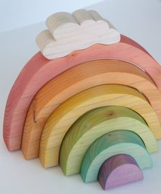 Sobre el arco iris apilador de madera por BeneathTheRowanTree