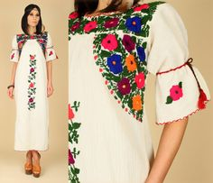 ViNtAgE 70's Floral Gauze Cotton Mexican Embroidered Handmade Maxi Hippie Wedding Dress s/m. $98.00, via Etsy.
