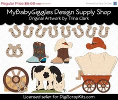 50 OFF SALE Western Fun 2 Country Clip Art by mybabygiggles, $2.50