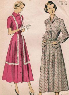 2d2c2035abb 1940s Advance 5156 Vintage Sewing Pattern Misses  Dress Size 18 Bust 36