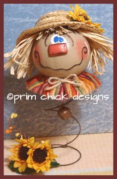 handpainted fall scarecrow coyote gourd primitive by primchick, $27.99