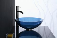 Round Glass Vessel Sink In Blue Bits