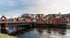 Norway, Trondheim, Old Town, Bridge, Reflection, Water
