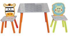 """Das 3-teilige Kinder-Tischset """"Safari"""" bringt Farbe in jedes Kinderzimmer! Der eckigeTisch mit orangen Tischbeinenund mit den beiden Stühlen mitlustigen Tiermotiven wird zum beliebtesten Platz für die Kleinen. Hier darf nach Herzenslust gemalt und gespielt werden. Sofas, Baby Kind, Chair, Furniture, Home Decor, Products, Animal Themes, Kid Furniture, Armchair"""