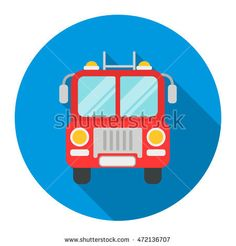 Fire truck icon flat. Single silhouette fire equipment icon from the big fire Department flat