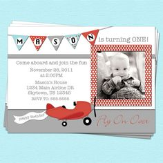 Airplane Birthday Invitation with Photo