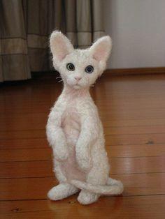 Needle Felted Silk Devon Rex Cat by Tamara111,
