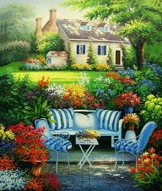 Garden Painting 079 - Click Image to Close Beautiful Places, Beautiful Pictures, Beautiful Homes, Arte Country, Garden Painting, Painting Art, Beautiful Paintings, Home Art, Landscape Paintings