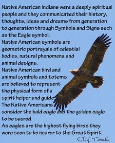 Native American Indians were a deeply spiritual people and they communicated their history, thoughts, ideas and dreams from generation to generation through Symbols and Signs such as the Eagle symbol. Native American symbols are geometric portrayals of celestial bodies, natural phenomena and animal designs. Native American bird and animal symbols and totems are believed to represent the physical form of a spirit helper and guide. The Native Americans consider the bald eagle ...