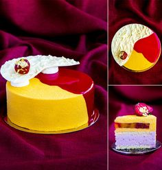 """Mango-strawberries: sponge cake """"Joconde"""", strawberry mousse; mango-passion fruit mousse and jelly with piece of mango and strawberries."""