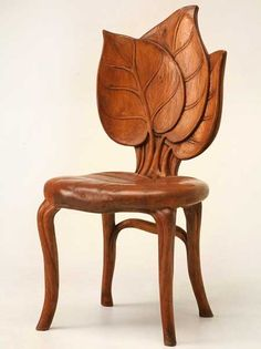 SO BEAUTIFUL! Unusual hand-carved antique French Art Nouveau sculptural chair from the Mountain Region of France in excellent original condition. The wood species cannot be identified but is probably fruitwood. Seat height is France circa 1900 Estilo Art Deco, Muebles Estilo Art Nouveau, Antique Furniture For Sale, Funky Furniture, Unique Furniture, Furniture Design, Chair Design, Design Design, Leaf Design