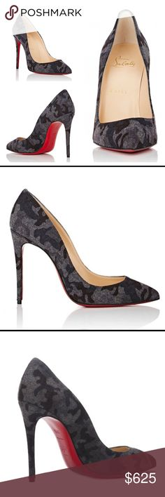 """NIB Louboutin Camo Pigalle Follies Flannel Pump Christian Louboutin's grey and multicolored camouflage-print flannel Pigalle Follies pumps are styled with a pointed toe and signature stiletto heel. These have never been worn and come with original box and dust bags.  4""""/100mm heel (approximately). Pointed toe. Self-covered stiletto heel. Slips on. Lined with smooth leather. Signature red leather sole. Available in Grey/Multi. Made in Italy. Style # 504614827 Christian Louboutin Shoes Heels"""