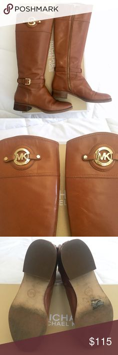 """Michael Kors leather riding boots 🎀 Michael Kors """"Stockard"""" leather riding boots in  luggage (a camel/tan color) 🎀 Size 7.5 - fits true to size, maybe slightly narrow  🎀 Excellent used condition - only used for one season and stored in the box with foam inserts - see photos for more details 🎀 Measures 16"""" tall from heel to top, with 14"""" circumference at calf (zips up with slightly stretchy opening) 🎀 Can ship with box - just ask! ✅ Offers ✅ Bundles 💯 Authentic! Michael Kors Shoes"""