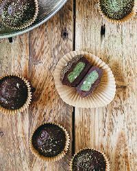 Blogger Molly Yeh created this brilliant recipe for homemade chocolate confections. The bite-sized cups are made with rich dark chocolate and filled with a matcha-coconut cream.  Slideshow: More Chocolate Candy Recipes