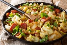 Stock Photo: Stir fried cabbage with crispy bacon closeup on a plate on a wooden table. Cabbage And Bacon, Fried Cabbage, Wok, Stir Fry, Low Carb Recipes, Potato Salad, Healthy Life, Paleo, Food And Drink
