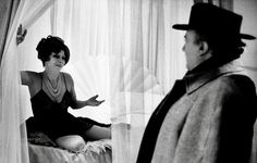"Magali Noël and Federico Fellini on the set of ""Amarcord""."