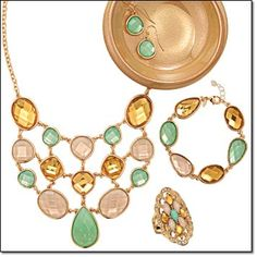 "TROPICAL BREEZE COLLECTION A refreshing blend of minty green stones and goldtone, just right for the new season. Statement Necklace and Earring Set Necklace, 18 1/2"" L with 3 1/2"" extender. Pierced earrings, 1"" drop. Price: $19.99 the set Bracelet 7 1/4"" L with 1"" extender. Price: $9.99 Will be $19.99 Ring A true statement piece. 1 1/2"" L. Price: $9.99 Will be $19.99  LIMITED-TIME OFFERS"