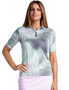#lorisgolfshoppe Women's Golf Apparel offers a classy collection of golf skorts, shorts, dresses, and golf tops. You gotta see this AQUARIUS (Multi Abstract Sport Haley Ladies & Plus Size Alicia Elbow Sleeve Print Golf Polo Shirt with unique , pretty colors!