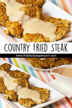 Country Fried Steak Recipe (aka Chicken Fried Steak) - Simple recipe for how to make the best country fried steak with white country gravy. Comfort food just like from Shoney's and Cracker Barrel restaurants. Country Fried Steak And Gravy Recipe, Easy Country Fried Steak, Chicken Fried Steak Easy, Country Fried Chicken, Chicken Fried Steak Cracker Barrel Recipe, County Fried Steak Recipe, White Gravy Recipe, Minute Steak Recipes, Cube Steak Recipes