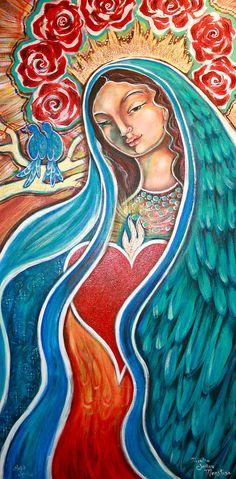 ♥ Nuestra Senora Maestosa Painting  - Nuestra Senora Maestosa Fine Art Print Divine Mother, Mother Mary, Shiloh, Caricatures, Madona, Jesus E Maria, Illustrations, Mexican Folk Art, Blessed Mother