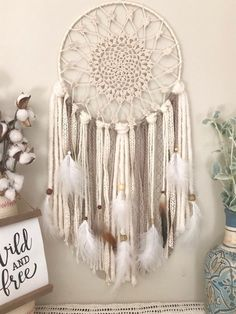 Dream Catcher in Natural Colors for your Boho Style Bedroom or Nursery Dream Catcher Craft, Crochet Dreamcatcher, Macrame Patterns, Wooden Beads, Bohemian Style, New Baby Products, Weaving, Creations, Crafty