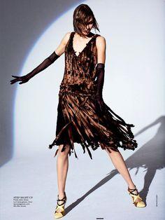 "#KarieKloss in ""The Flapper Wears #Prada"" by #ArthurElgort for #Vogue #Australia, May 2013"