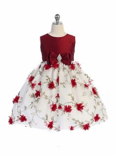 Crayon Kids 354 Red & White Floral Brooch Bow Dress Style: Sleeveless gown Red fitted bodice Diamond shaped brooch at waistline floral scattered throughout skirt Fully lined skirt Crayon Kids 354 Toddler Girl Dresses, Dresses For Teens, Cute Dresses, Toddler Girls, Infant Toddler, Flower Girls, Flower Girl Dresses, Baby Girl Dress Patterns, Kids Frocks Design