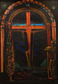 """El Kazovszkij (1948-2008), """"Emlékmû"""" III., karton, olaj, 71 x 50,5 cm"""
